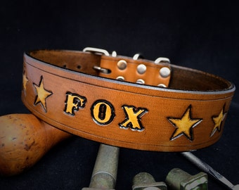 Personalized Leather dog collar with name / Personalised, colored, top quality dog collar from cowhide with dog name, brown /