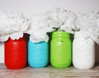 4- Hand Painted Pint Mason Jar Flower Vases-Modern Holiday Collection-Country Decor-Cottage Chic-Shabby Chic-French Chic