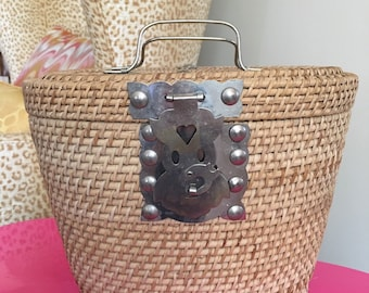 Basket With Attached Lid with Wonderful Hardware Vintage