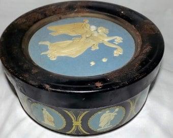 Guildcraft cameo Greek goddess on light blue lid, Greek gods on side, vintage storage, vintage cookie tin, sunshine biscuits, vintage decor