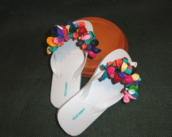 Flip Flops White with Multiple Colored Balloons Child Size
