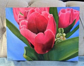 Original Painting, Pink Tulips, Acrylic on Canvas