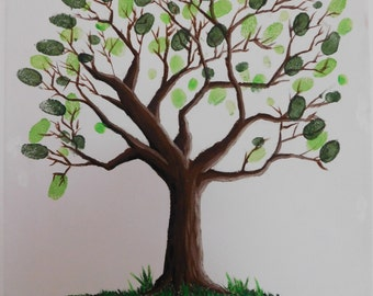 hand painted fingerprint tree canvas