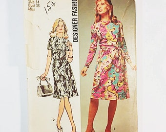 Simplicity 9458 Misses Dress Pattern | 70s Party Dress Pattern | Designer Fashion Pattern