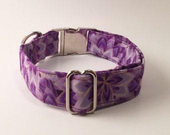 Purple & Gold Floral Adjustable Dog Collar