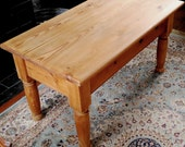 Old stripped and waxed chunky country farmhouse pine coffee table