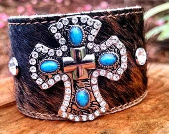 Crazy About Cowhide Turquoise Cross Cuff - Leather Cuff- Cowhide Cuff - Cross Cuff