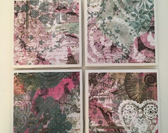 Set of four floral coasters