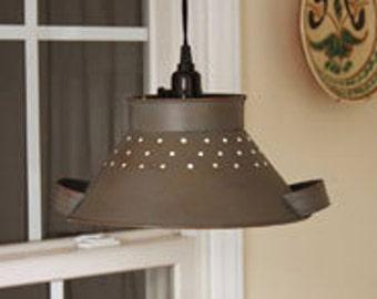 June's Pendant Colander Lamp - Rusty Grey