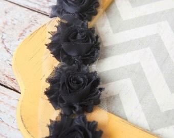 Charcoal shabby flower trim by the yard, dark grey shabby rose trim, wholesale flower trim, shabby trim, chiffon trim, flowers by the yard