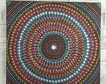 Metallic Mandala (10x10 inches) - dot art - dot painting - aboriginal design