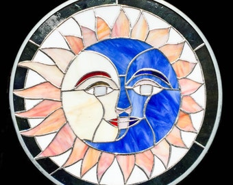 """Sun & Moon Face Design Tiffany Style Stained Glass Window Round Handcrafted 12"""""""