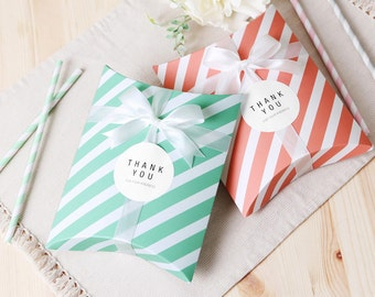 2 Stripe pillow boxes, small boxes, flat boxes, favor boxes, wedding favor boxes, favour boxes, pillow box, jewelry gift box