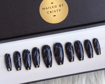 Black Marble Press On Nails   Any Shape and Size   Fake False Glue On Nails   Nail Art Design