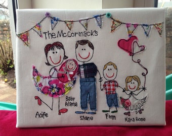Presonalised family portrait embroidery