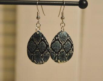 Black and Turquoise Snake Skin Pattern Earrings