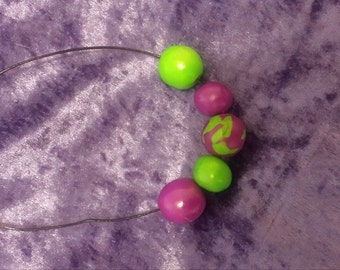 purple and lime green beaded polymer clay necklace