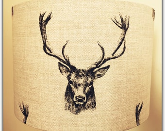 Handmade Lampshade Vintage Style Stag Print Linen - 20/30/40cm drum lamp shade