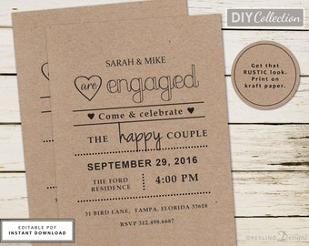 Kraft Engagement Party Invite, Rustic Engagement Invite, Chalkboard Engagement Invite, Instant Download, Engagement Invite Template, GD_E101