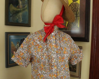 Vintage 1960's Orange Citrus Floral Blouse Top Orchard