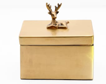 Brass Stag Box with Lid