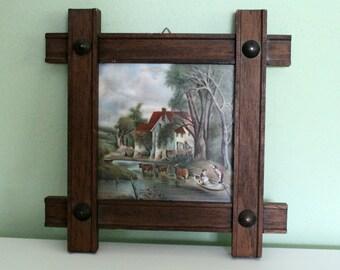 Vintage Mosa Holland Ceramic Tile Netherlands, Collectible Handmade, Dutch Tile, Farmhouse Scene, Framed, Wall Decor