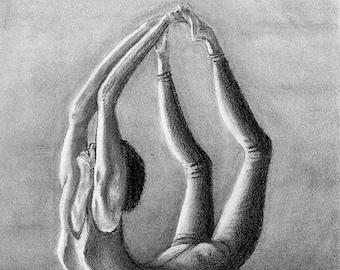 yoga pose graphite pencil portrait sketch drawing print wall decor
