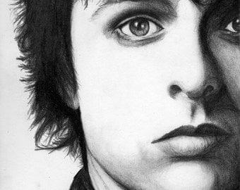 Green Day Singer Billie Joe Armstrong charcoal portrait drawing print wall decor