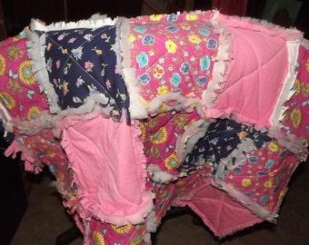 Pink Multicolor Rag Quilt
