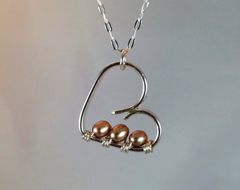 Sterling silver baby heart pendant with freshwater pearl beads