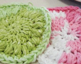100% Cotton yarn crochet face scrubbies