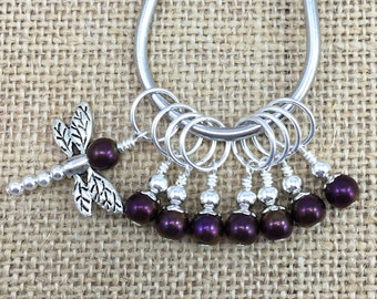 Stitch Markers, Purple Markers, Gifts for Knitter, Knitting Tools, Snag Free, Beaded Knit Markers, Crochet Removable Stitch Markers