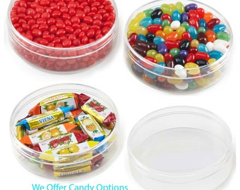 "24 Plastic Round Shape Container Empty Party Favors 4.25"" Diameter"
