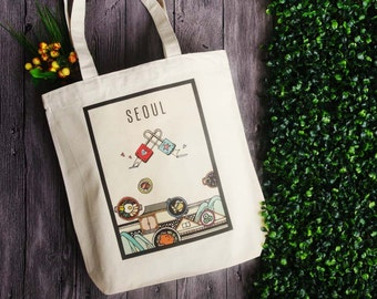 Seoul x thepinkpunk - traveling with me - city sketching tote bags