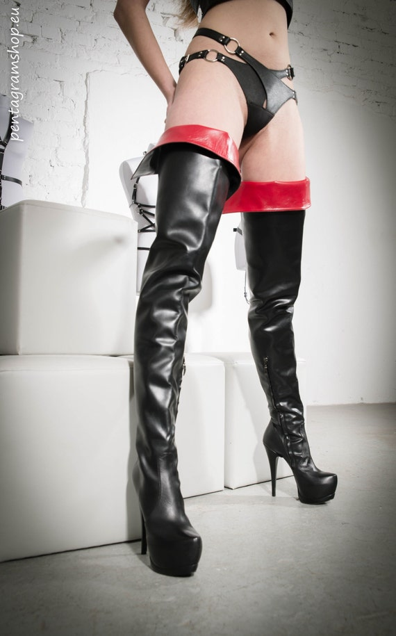 gorgeous leather high tight platform boots with insert