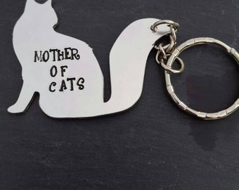Cat keyring personalised handstamped/ crazy cat lady/ cat gifts / cat lover