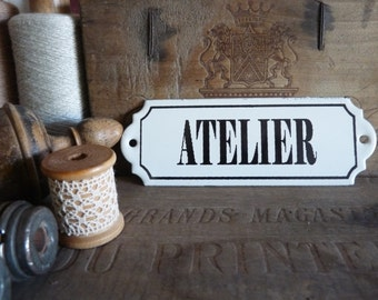 Vintage French enameled ATELIER sign - Workshop door - sewing- collage-painting- Handmade- Plaque émaillée