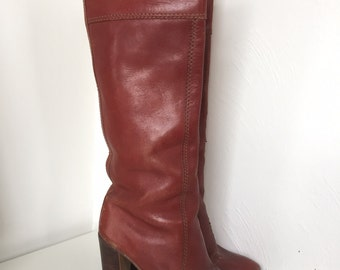 vintage pull-on red brown reddish tall knee high 70's leather boots cool on-trend UK5
