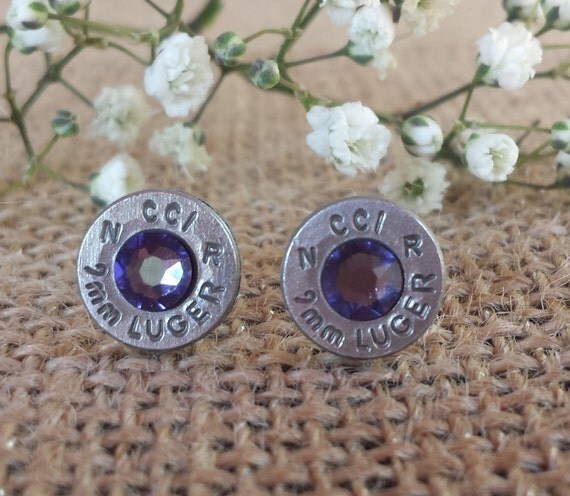 Lavender 9mm CCI Bullet Stud Earrings