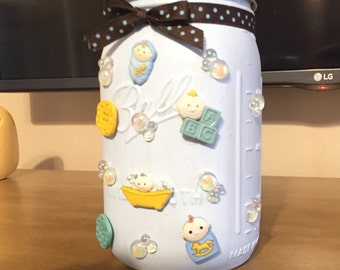 Baby boy gift mason jar baby shower centerpiece.
