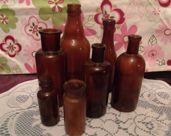 Set of 7 Brown Vintage Bottles - For the Collector -- For the Crafter --(# 631/29)