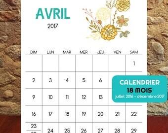 Calendrier digital 2016-2017 pour imprimer, 18 mois de Bouquets de Fleurs
