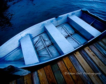 Row boat, Lake, water scenes,seascapes,Wall Decor, Wall Art, blue photography