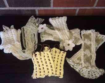 Wrist warmers - crochet and lace