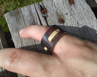 Leather Ring - Brown Leather Ring - Brown Ring Band - Leather Jewelry - Leather Band -