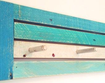 Rustic Painted Beachy Blue Coat Rack.