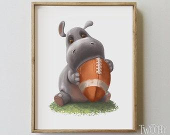 Hippo Nursery Art Print // Baby Hippo Digital Print // Football Nursery Decor // Hippo Kids Wall Art // Nursery decor // Hippo Art