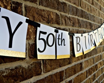 Happy 50th Birthday. 50th Birthday Banner. Happy 50th Anniversary. 50th Anniversary Banner. 50th Birthday Party Decorations. 50th Decor.