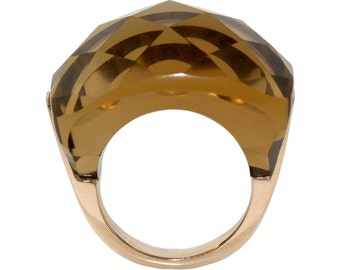 Ring in solid 9k yellow gold with checkerboard cut natural smoky quartz