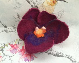 Felted Pansy Brooch